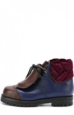 Кожаные ботинки со скрытой шнуровкой Marco de Vincenzo. Цвет: фиолетовый