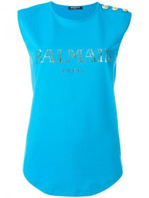 Майка с логотипом Balmain. Цвет: синий