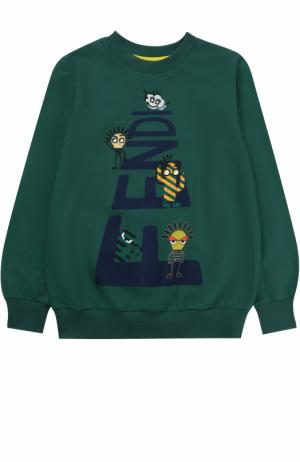 Хлопковый свитшот с принтом Fendi Roma. Цвет: зеленый