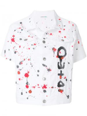 Джинсовая куртка с принтом брызг краски P.A.R.O.S.H.. Цвет: белый