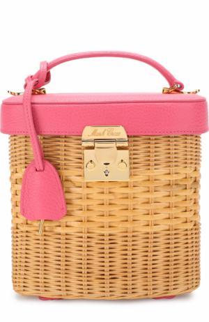Плетеная сумка Benchley Mark Cross. Цвет: розовый