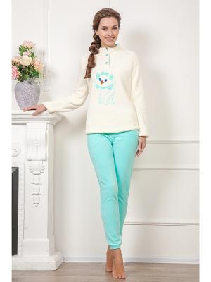 Домашний костюм CLEO. Цвет: молочный, бирюзовый