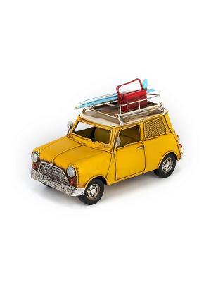 Модель Ретро Автомобиль жёлтый, с фоторамкой и копилкой 4х5см PLATINUM quality. Цвет: желтый