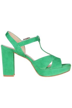 High heels sandals Sessa. Цвет: green