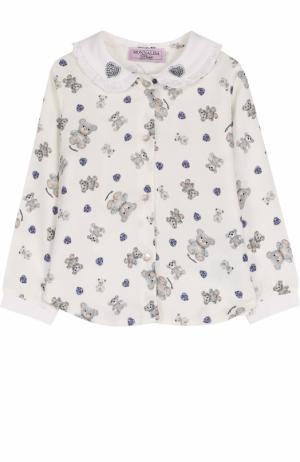 Блуза с принтом и оборками Monnalisa. Цвет: белый