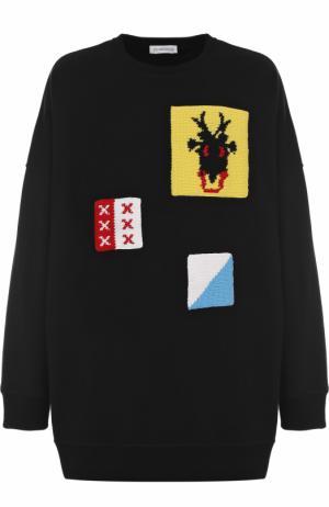 Хлопковый свитшот свободного кроя с отделкой J.W. Anderson. Цвет: черный