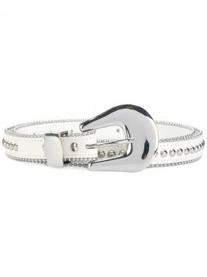 Ремень с заклепками B-Low The Belt. Цвет: белый