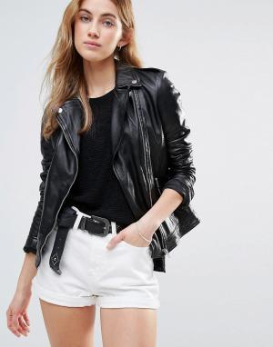 Muubaa Классическая кожаная байкерская куртка. Цвет: черный