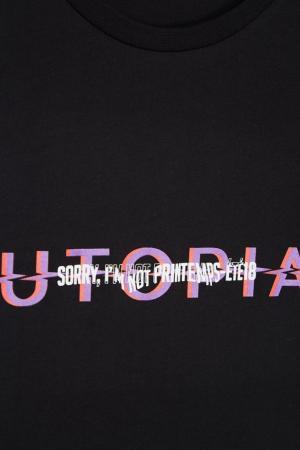 Черная хлопковая футболка с надписью Sorry, i'm Not. Цвет: none