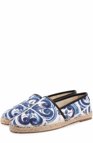 Хлопковые эспадрильи с отделкой из натуральной кожи на джутовой подошве Dolce & Gabbana. Цвет: синий