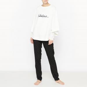 Пижама из 3 предметов La Redoute Collections. Цвет: белый/ черный