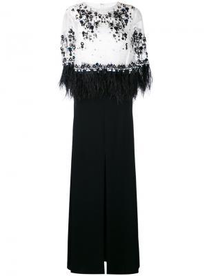 Вечернее платье Monice1 с пайетками и перьями Talbot Runhof. Цвет: чёрный