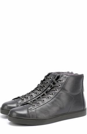 Высокие кожаные кеды на шнуровке с внутренней меховой отделкой Gianvito Rossi. Цвет: темно-серый