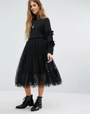 Navy Многослойная кружевная юбка London. Цвет: черный