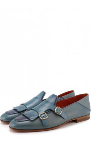 Кожаные монки с бахромой Santoni. Цвет: синий
