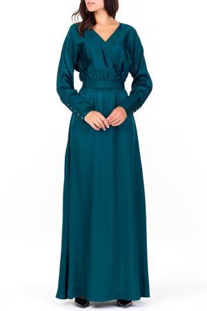 Атласное отрезное платье по талии, вырез-запах, длинные рукава XARIZMAS. Цвет: 15, изумрудный