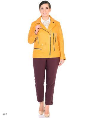 Кожаная куртка - косуха MONDIAL. Цвет: желтый
