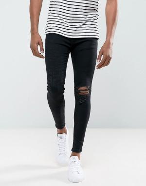Rose London Супероблегающие джинсы с рваной отделкой. Цвет: черный