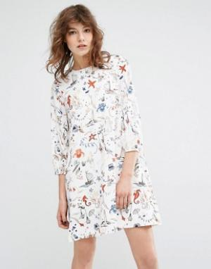 Essentiel Antwerp Платье с принтом и длинными рукавами Miaga. Цвет: мульти