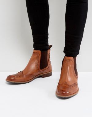 Silver Street Светло-коричневые кожаные ботинки челси. Цвет: рыжий