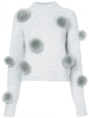 Джемпер декорированный помпонами Tibi. Цвет: серый