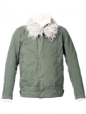 Куртка бомбер с текстурированным воротником 08Sircus. Цвет: зелёный