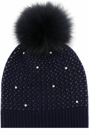 Шерстяная шапка фактурной вязки с меховым помпоном и декором Yves Salomon Enfant. Цвет: синий