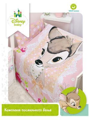 Комплект постельного белья Disney. Цвет: розовый, коричневый