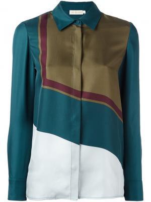 Рубашка с геометрическим принтом Tory Burch. Цвет: синий