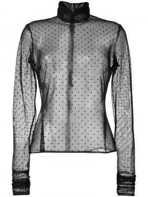 Прозрачная блузка с узором в горох Elie Saab. Цвет: чёрный