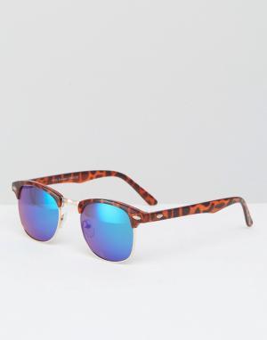 7X Солнцезащитные очки в стиле ретро. Цвет: коричневый