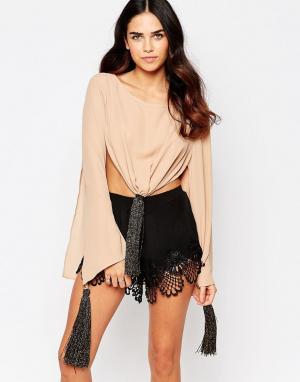 Never Fully Dressed Топ с завязкой спереди. Цвет: коричневый