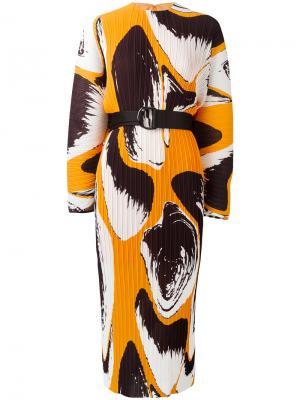 Printed plissé dress Solace. Цвет: жёлтый и оранжевый
