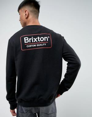 Brixton Свитшот с логотипом на спине. Цвет: черный