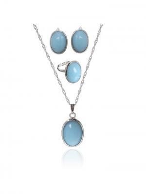 Набор: серьги, кулон, кольцо Queen Fair. Цвет: голубой