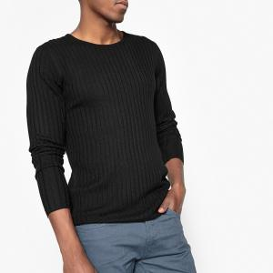 Пуловер с круглым вырезом в рубчик La Redoute Collections. Цвет: зеленый,серый меланж,черный