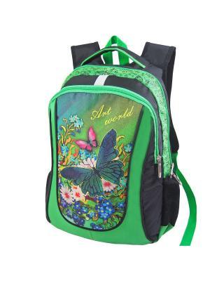 Портфель ученический Stelz. Цвет: черный, зеленый, салатовый