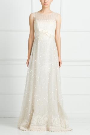 Шелковое платье Bill Blass. Цвет: кремовый