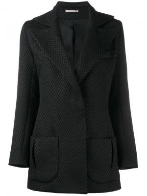 Пиджак-смокинг с узором-елочкой Emilia Wickstead. Цвет: чёрный