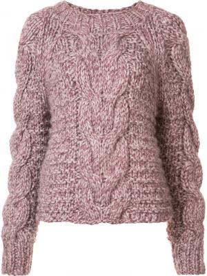 Francisca cable handknit pullover Ulla Johnson. Цвет: розовый и фиолетовый