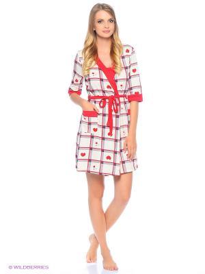 Комплект домашней одежды ( халат, ночная сорочка) HomeLike. Цвет: красный, бежевый