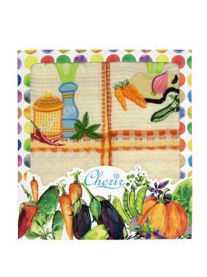 Набор вафельных полотенец - 2 шт. (45*68) Dorothy's Нome. Цвет: оранжевый