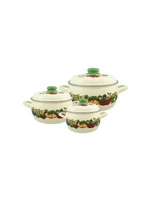 Набор посуды 6 предметов (2,2л, 3,0л, 5,3л), мет.крышки METROT. Цвет: бежевый