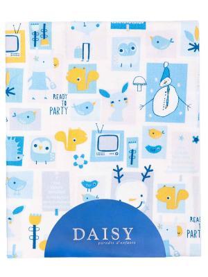 Пеленка Фланель 90х150 см Мультяшки гол DAISY. Цвет: бирюзовый, серо-голубой, светло-оранжевый, белый