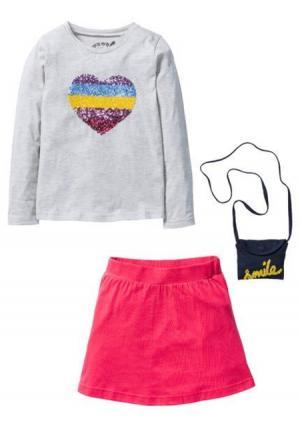 Комплект, 3 части: кофточка + юбка сумочка. Цвет: телесный меланжевый/цвет гибискуса