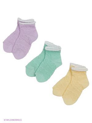 Носки - 3 пары Гамма. Цвет: фиолетовый, бирюзовый, желтый