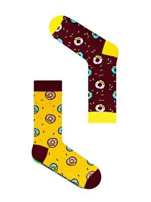 Набор Обратная сторона пончика (2 пары в упаковке), дизайнерские носки SOXshop. Цвет: бордовый, желтый