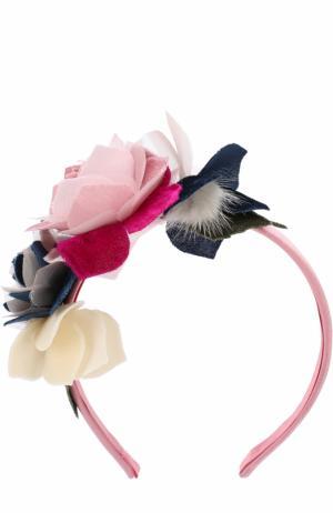Текстильный ободок с цветочным декором Monnalisa. Цвет: розовый