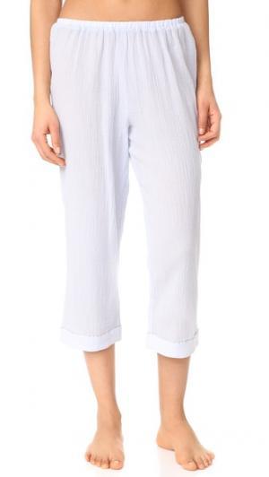 Укороченные пижамные брюки с окантовкой Skin. Цвет: ледяной голубой/серая окантовка