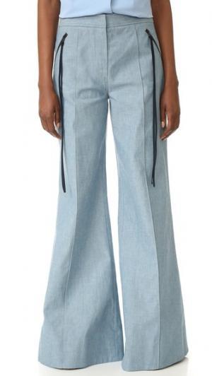 Расклешенные брюки Ariel Hellessy. Цвет: голубой